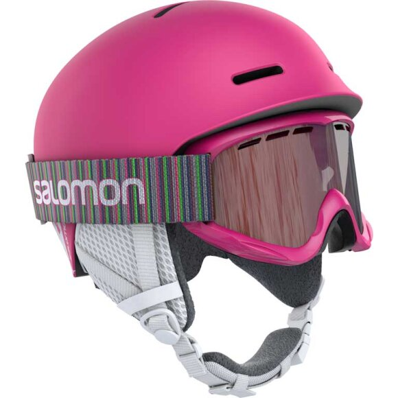 Salomon - Player Combo Hjelm + Goggles Junior Pink
