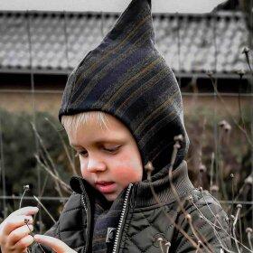 Mikk-Line - Wool Fullface Windstop Blåstribet elefanthue til børn